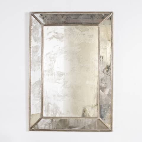 Worlds Away Dion Silver Leafed Rectangular Antiqued Mirror Pertaining To Large Antiqued Mirrors (#20 of 20)