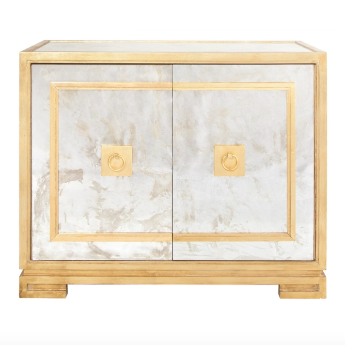Worlds Away Ophelia Antique Mirror & Gold Leaf Cabinet | Matthew Izzo Within Gold Antique Mirrors (#20 of 20)