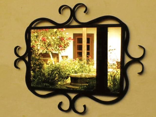 Wrought Iron Mirror Frame With Curved Details | Artisan Crafted Home Pertaining To Rod Iron Mirrors (#14 of 15)