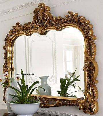 Xl Large French Antique Style ~ Ornate Arched Gold Scroll Wall Regarding Large Mantel Mirrors (#30 of 30)