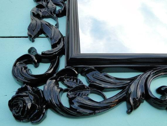 You Choose Color Large Ornate Vintage Gothic Mirror Wall With Regard To Large Black Vintage Mirrors (#30 of 30)