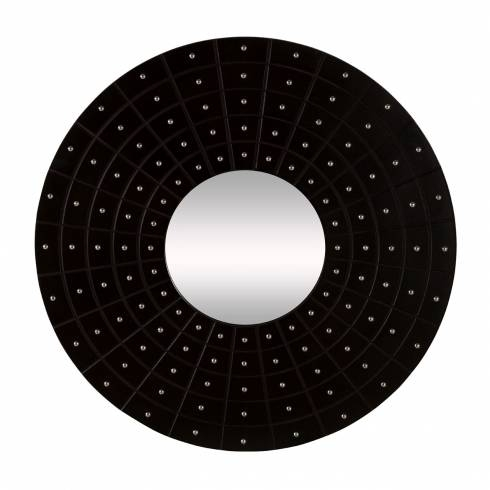 Inspiration about Zest Round Black Faux Leather Mirror | Chrome Studs For Black Faux Leather Mirrors (#16 of 20)