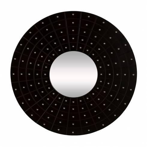Zest Round Black Faux Leather Mirror | Chrome Studs For Black Faux Leather Mirrors (#18 of 20)
