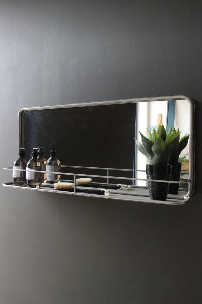Zinc Grey Antique Style Wall Mirror With Shelf – Landscape From Pertaining To Landscape Wall Mirrors (#30 of 30)