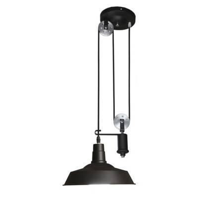 Inspiration about 1 Light Pulley Pendant Metal Shade In Black – Beautifulhalo Regarding Pulley Pendant Lights (#10 of 15)