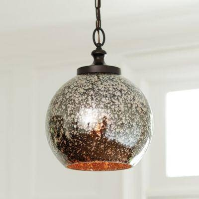 1 Light Silver Pendant With Mercury Glass Ceiling Lights (#1 of 15)