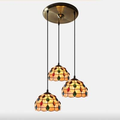12 Inch Round Shade Stained Glass Shell Material Tiffany 3 Light Inside Stained Glass Pendant Lights (#1 of 15)