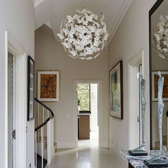 White hallway with painted console table | Hallway ...