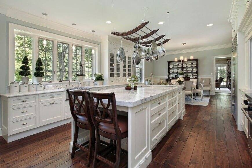 Inspiration about 15 Kitchens With Perfect Pot Racks (Pictures) Within Kitchen Pendant Lights With Pot Rack (#10 of 15)
