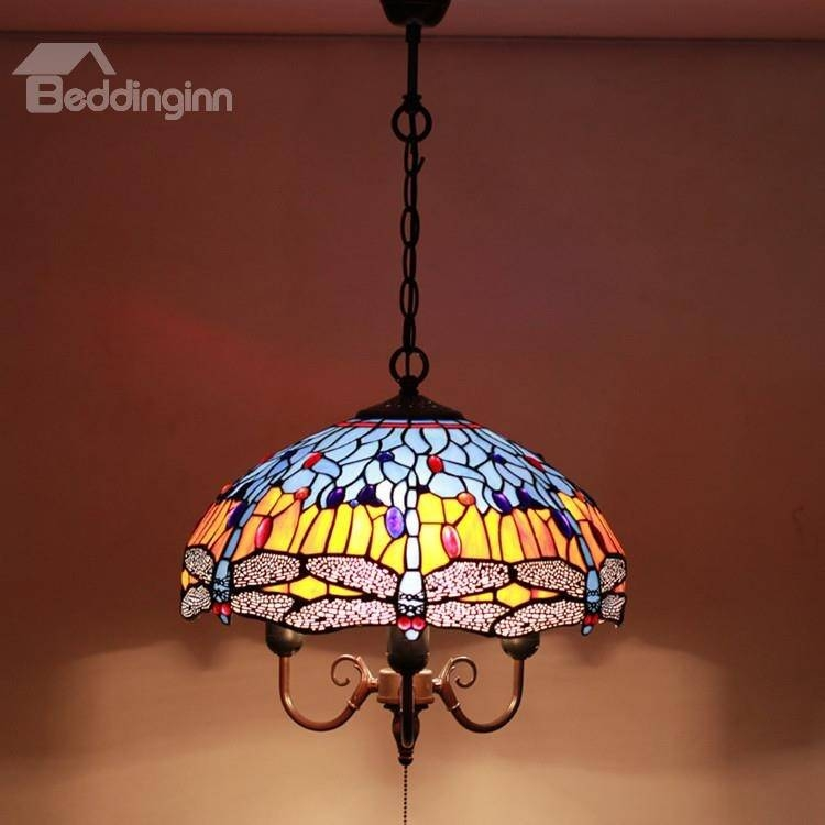 16 Inch Gorgeous Pretty Dragonfly Pattern Tiffany Stained Glass For Stained Glass Pendant Light Patterns (View 14 of 15)