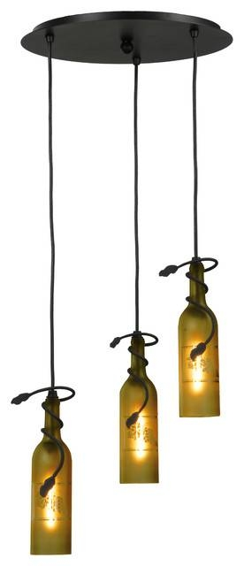 "16"" Tuscan Vineyard Etched Grapes 3 Light Wine Bottle Cascading Throughout Wine Glass Pendant Lights (#1 of 15)"