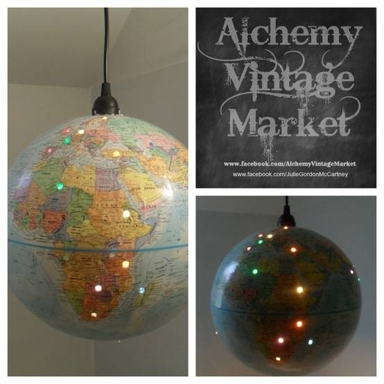 165 Best Altered Globes Images On Pinterest | World Globes, Globe Throughout Earth Globe Lights Fixtures (View 7 of 15)