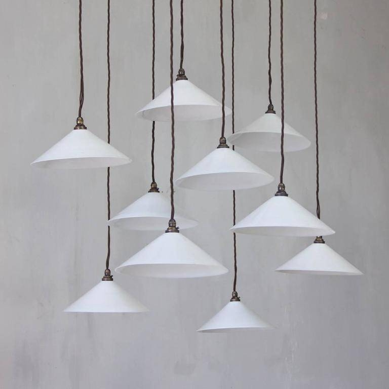 1930S Milk Glass Pendants, A Run Of 10 At 1Stdibs With Milk Glass Pendants (#2 of 15)