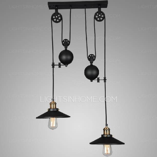 2 Light Designer Pulley Shaped Industrial Pendant Lights Throughout Pulley Pendant Lighting (#2 of 15)