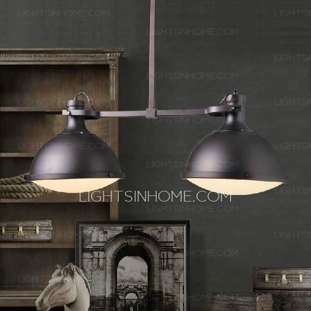 2 Light Industrial Style Pendant Lights Wrought Iron With Industrial Looking Pendant Lights Fixtures (#1 of 15)