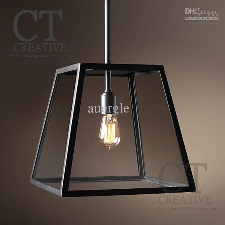 2017 American Wrought Iron Glass Pendant Light Brief Old Furniture Regarding Black Wrought Iron Pendant Lights (#1 of 15)