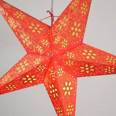 "Inspiration about 24"" Red Winds Gold Glitter Paper Star Lantern, Hanging (Light Not Regarding Paper Star Pendant Lights (#3 of 15)"
