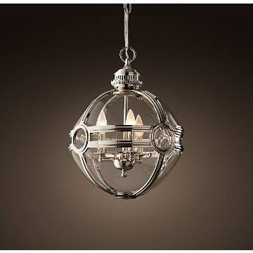 "24"" Victorian Hotel Glass Pendant Lamp Antique Brass Ball Shaped Pertaining To Victorian Hotel Pendant Lights (#2 of 15)"