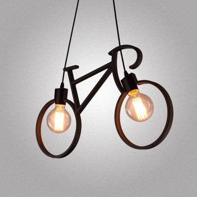 Inspiration about 24'' W Industrial Style Wrought Iron Bicycle Shape Living Room Throughout Wrought Iron Light Pendants (#15 of 15)