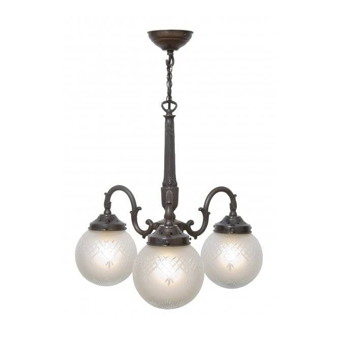 3 Arm Victorian Or Edwardian Ceiling Pendant Light With Globe Shades With Regard To Edwardian Lamp Pendant Lights (#2 of 15)