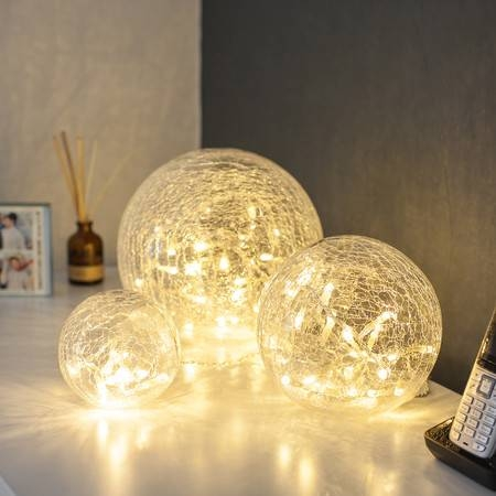 Inspiration about 3 Clear Glass Fairy Light Orbs | Lights4Fun.co.uk In Glass Orb Lights (#7 of 15)