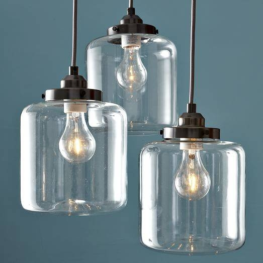 Inspiration about 3 Jar Glass Chandelier | West Elm Pertaining To Glass Jug Lights Fixtures (#12 of 15)