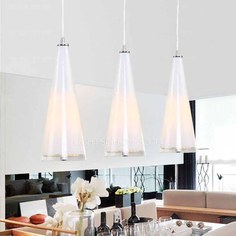 3 Light Glass Shade Material Multiple Pendant Lights With Bedroom Within Multiple Pendant Lights (#3 of 15)