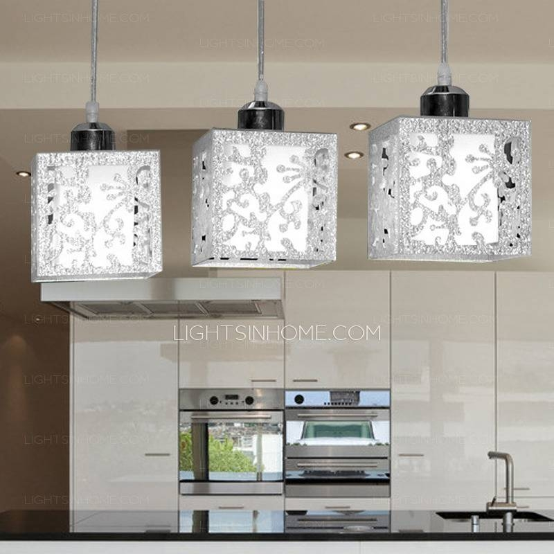 3 Light Rectangular Type Glass Shade Stainless Steel Pendant Lights Within Stainless Steel Pendant Lights (View 7 of 15)