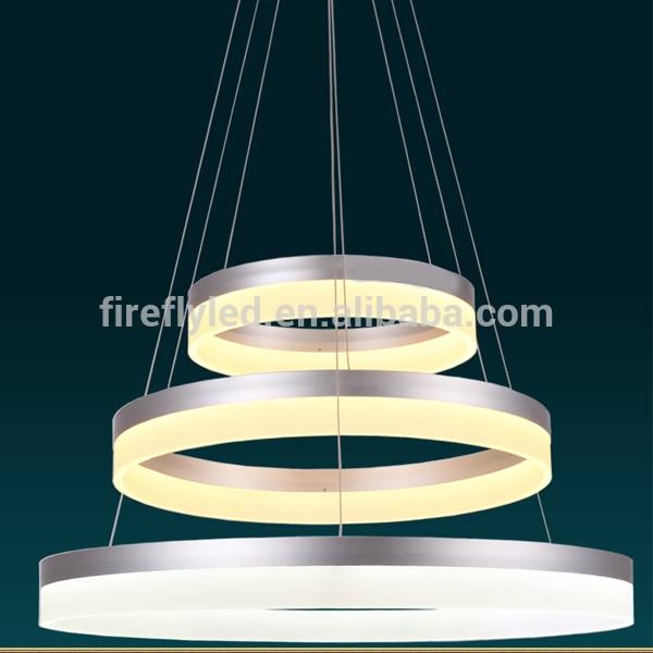3 Rings Led Pendant Light With Remote Control Square Shape Crystal Within Remote Control Pendant Lights (#1 of 15)