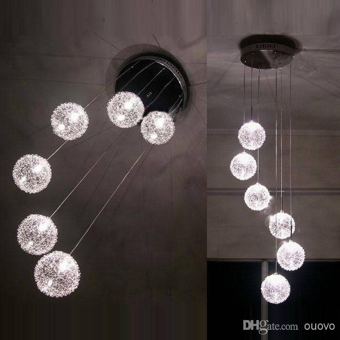 Inspiration about 6 Glass Aluminum Wire Balls Stair Case Pendant Light Living Room Within Wire Ball Pendant Lights (#14 of 15)