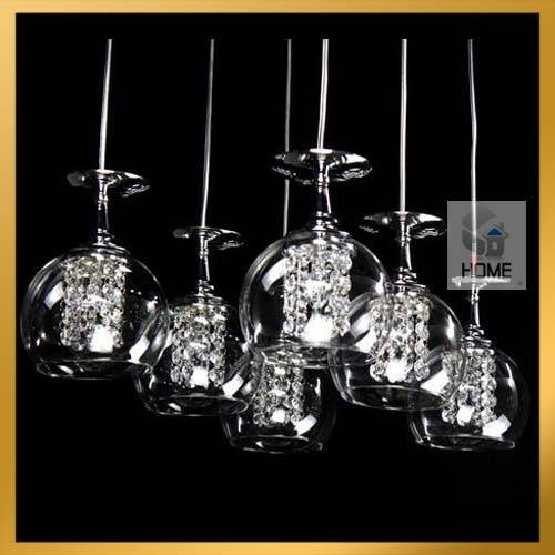 Inspiration about 6 Light – Wine Glass Crystal Chandelier Light Pendant Lamp Hanging With Wine Glass Lights Fixtures (#9 of 15)