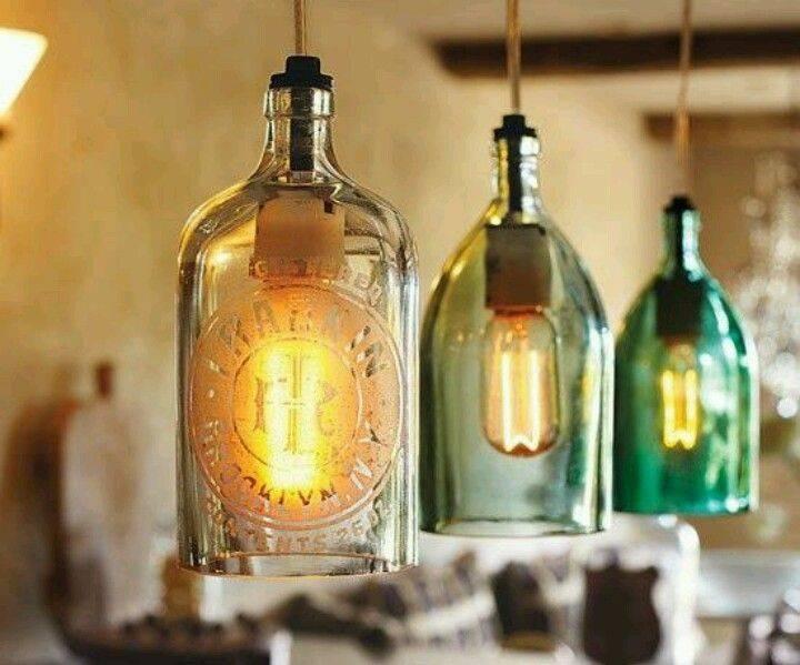 Inspiration about 67 Best Bottle Lights Images On Pinterest | Bottle Lights, Wine Within Liquor Bottle Pendant Lights (#15 of 15)