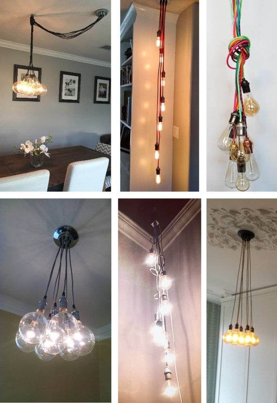 7 Cluster Pendant Chandelier Modern Lighting Hanging Cloth With Coloured Cord Pendant Lights (#4 of 15)