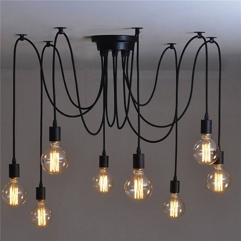 8 Head Vintage Industrial Style Edison Chandelier Retro Diy E27 Intended For Industrial Style Pendant Lights Fixtures (#1 of 15)
