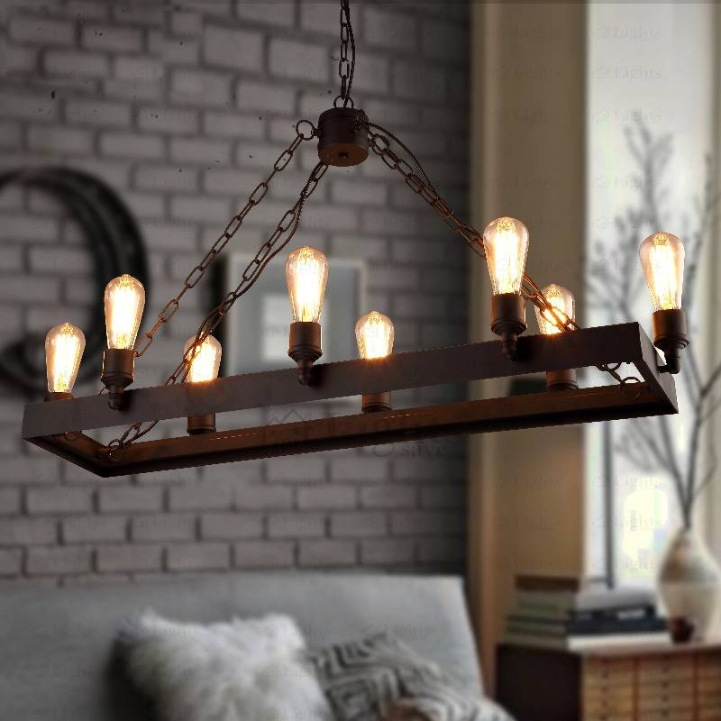 8 Light Wrought Iron Industrial Style Lighting Fixtures Pertaining To Industrial Looking Lights Fixtures (View 3 of 15)