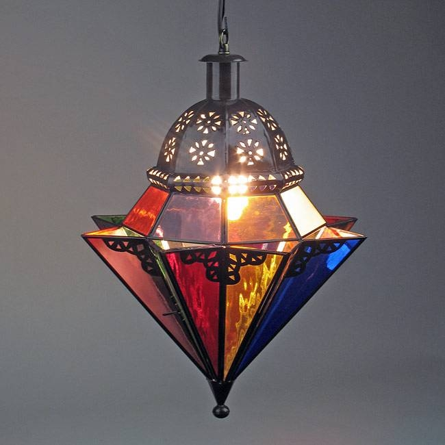 8 Point Colored Glass And Punched Tin Hanging Light Fixture With Regard To Punched Tin Pendant Lights (#3 of 15)