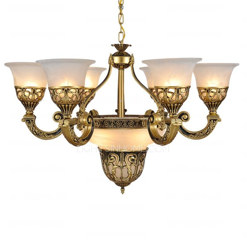Inspiration about 9 Lights Golden Fixture Glass Shade White French Style Chandeliers Regarding French Style Lights (#4 of 15)