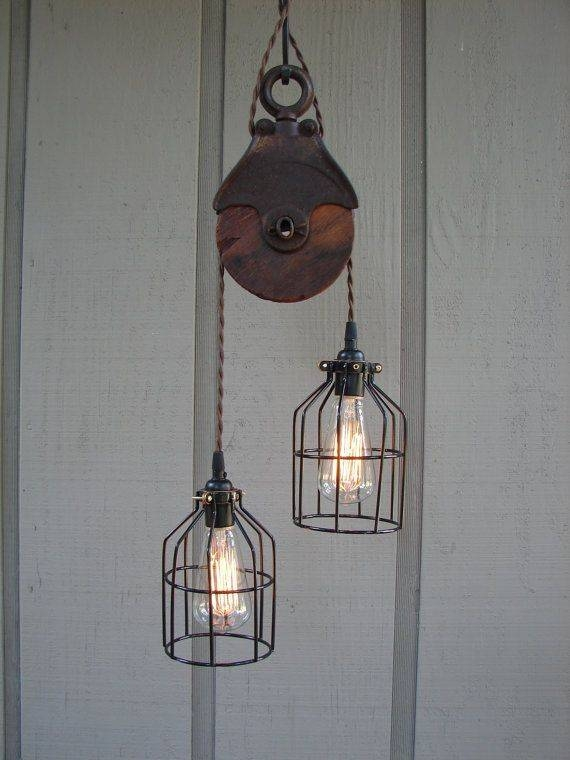 96 Best Industrial And Other Lighting Images On Pinterest With Regard To Double Pulley Pendant Lights (#3 of 15)