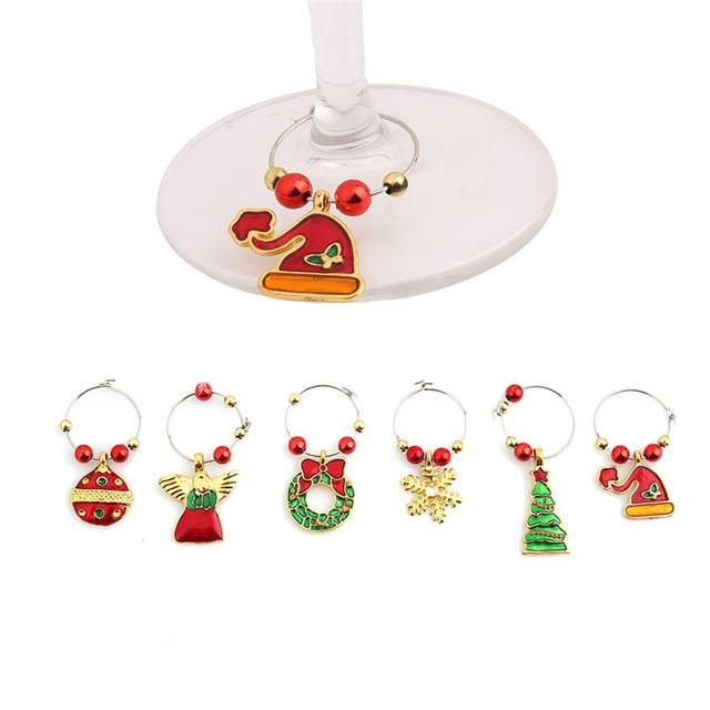 Aliexpress : Buy 1 Set Christmas Wine Glass Decoration Charms Intended For Wine Glass Pendants (#3 of 15)