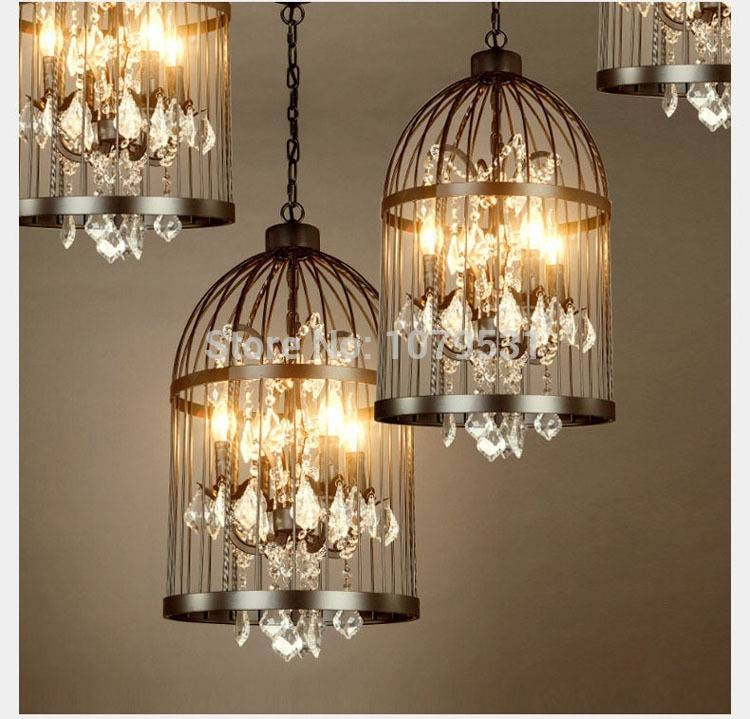 Aliexpress : Buy 35/45Cm Nordic Birdcage Crystal Pendant Within Birdcage Pendant Lights Chandeliers (#2 of 15)