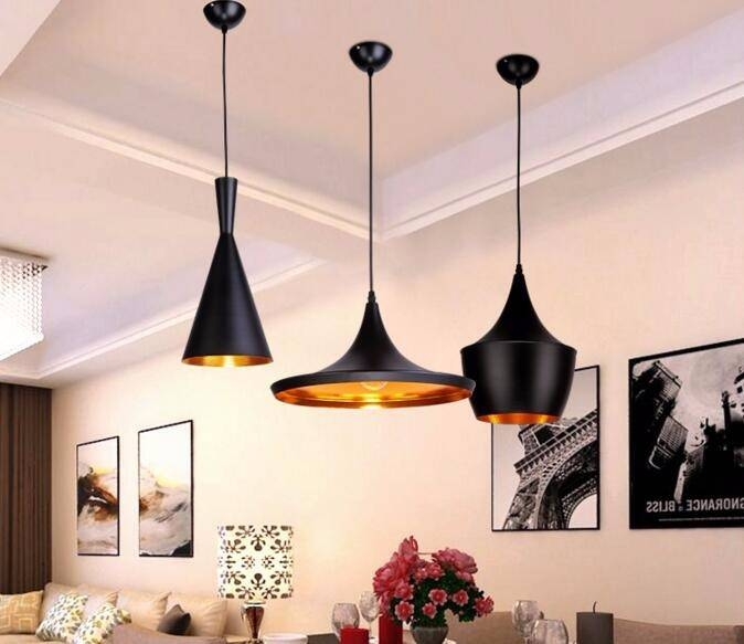 Aliexpress : Buy Black/white 3 Pieces/set Metal Pedant Lights Inside Black And Gold Pendant Lights (#1 of 15)