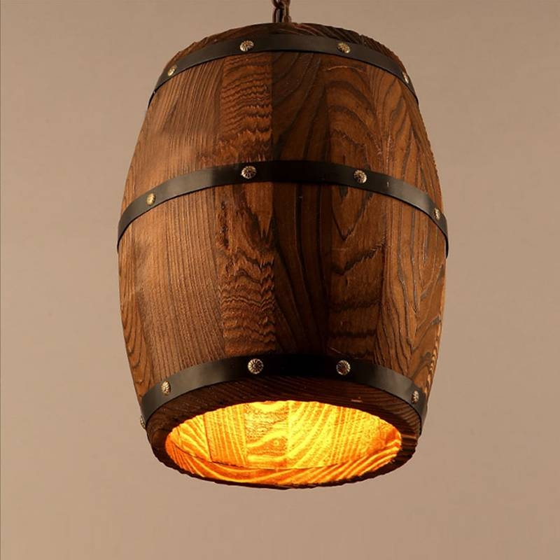 Aliexpress : Buy E27 American Country Loft Wood Wine Barrel For Barrel Pendant Lights (#1 of 15)