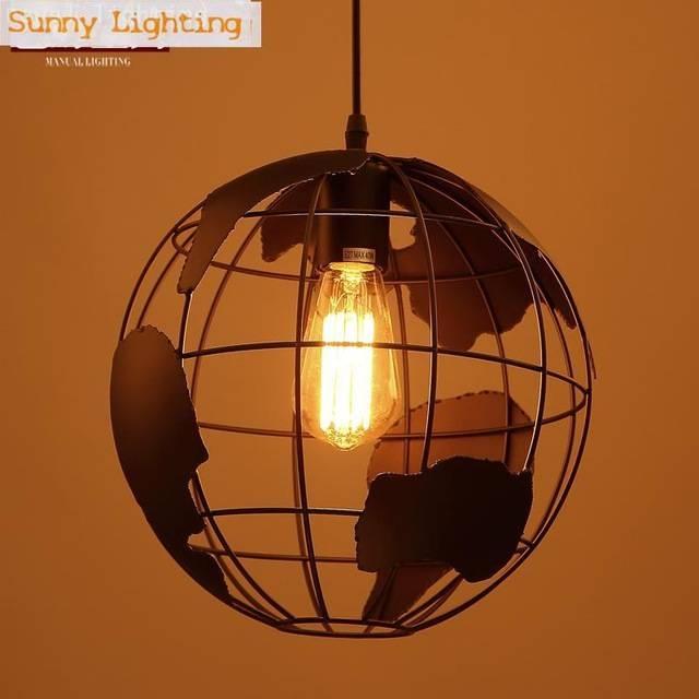 Aliexpress : Buy Globe Ball Bar Art Light Lampe World Map In World Globe Pendant Lights (View 7 of 15)