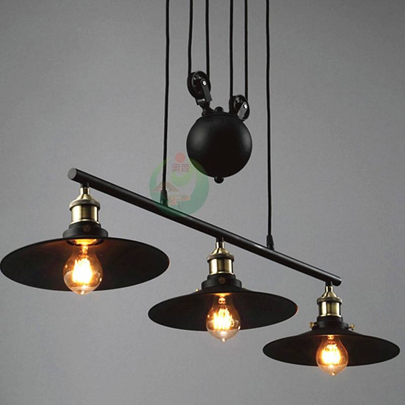 Aliexpress : Buy Nordic Industrial Pendant Lamp Lights Rh Loft Regarding Pulley Adjustable Pendant Lights (View 14 of 15)