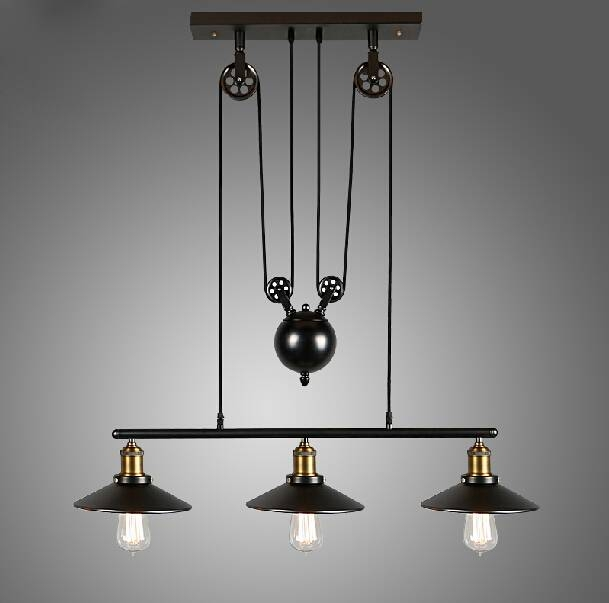 Aliexpress : Buy Rh Loft Vintage Iron Industrial Led American For Pulley Adjustable Pendant Lights (View 11 of 15)