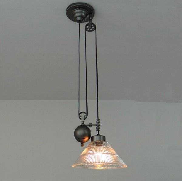 Aliexpress : Buy Vintage American Industrial Pendant Lights Rh With Pulley Adjustable Pendant Lights (View 12 of 15)