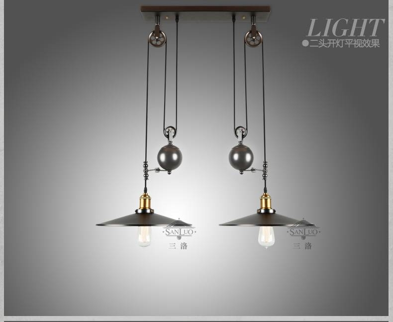 Aliexpress : Buy Vintage Rh Loft Industrial Led American In Pulley Pendant Lighting (#4 of 15)