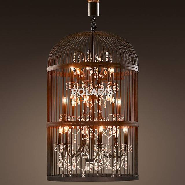 Aliexpress : Buy Vintage Rustic Birdcage Crystal Chandelier With Birdcage Pendant Light Chandeliers (#2 of 15)