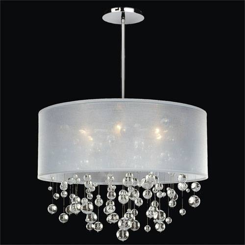 Amazing Of Drum Chandelier With Crystals Silver Drum Pendant Regarding Black And White Drum Pendant Lights (View 2 of 15)