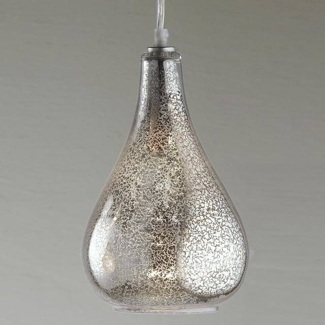 Amazing Pendant Lighting Shades Framed Crystal Glam Square Ceiling Pertaining To Mercury Glass Pendant Lights Fixtures (#3 of 15)